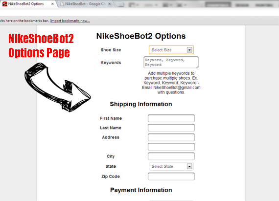 Nikeshoebot2 Options