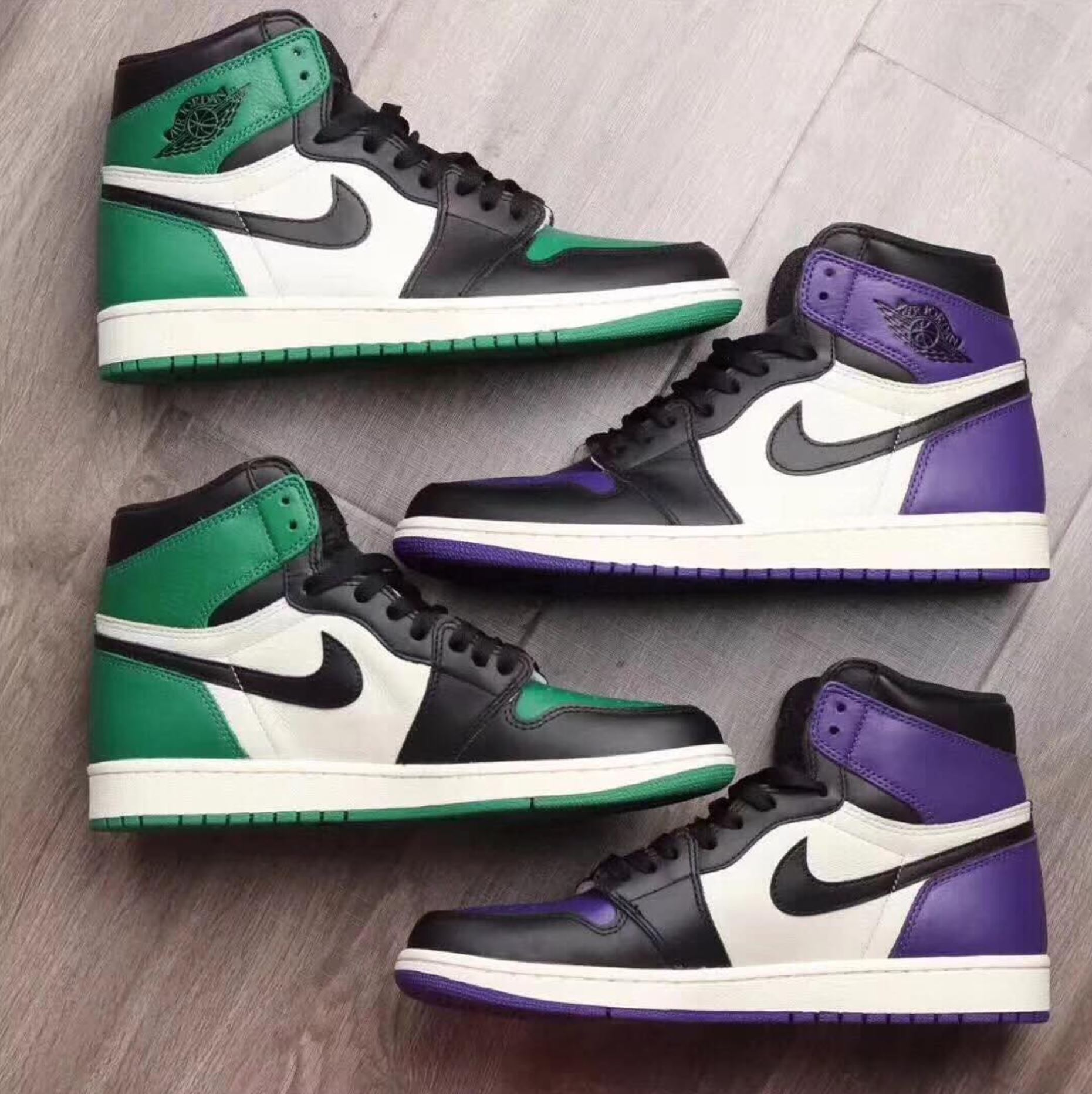 3a687fb3f35 Air Jordan 1 Pine Green & Court Purple Give Off Bred Toe Vibes