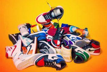 Pile of Jordan sneakers
