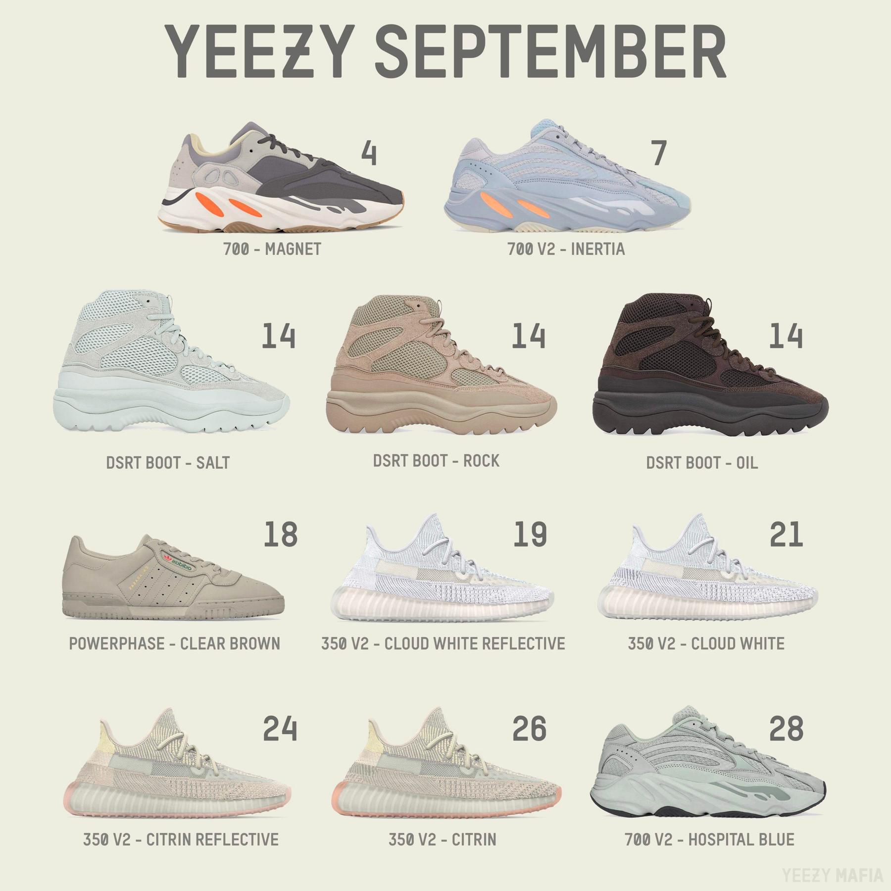 pretty nice 17905 7ec1e Your Best Look at The Adidas Yeezy Sneakers Lineup ...