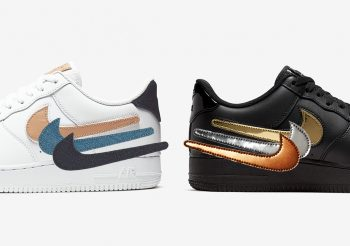 The altered Nike swoosh on Air Force 1 Low