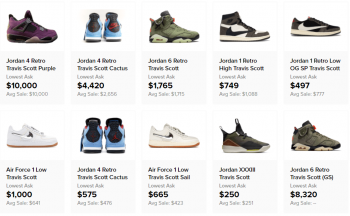 Travis Scott sneakers resale prices