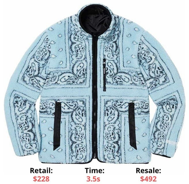 Reversible Bandana Fleece Jacket Light Blue Supreme Sellout times Supreme items