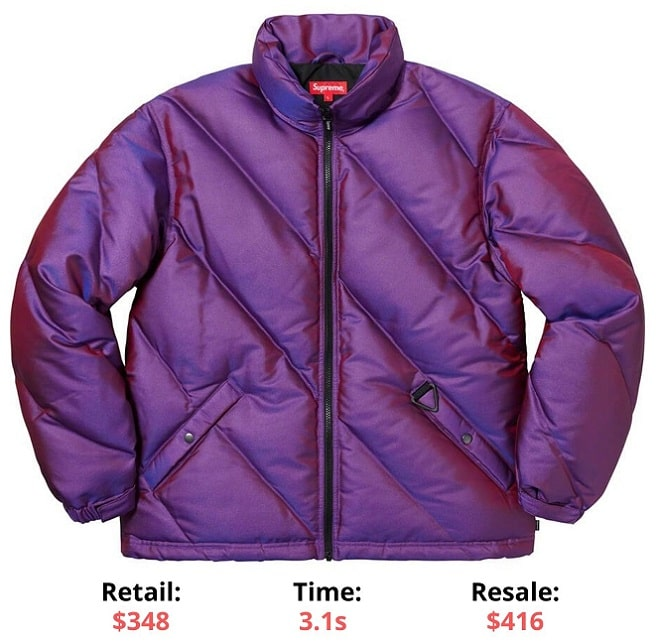 Supreme items Iridescent Puffy Jacket Supreme Sellout times