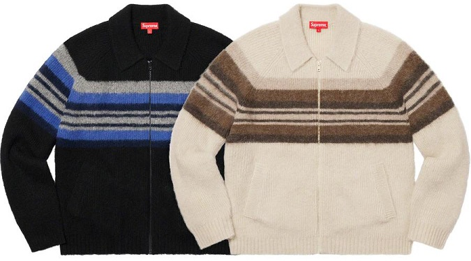 Supreme FW19 brushed wool zip up sweater
