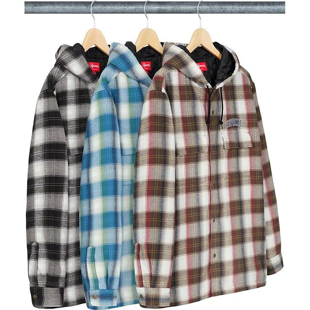 Supreme FW19 quilted hooded plaid shirt