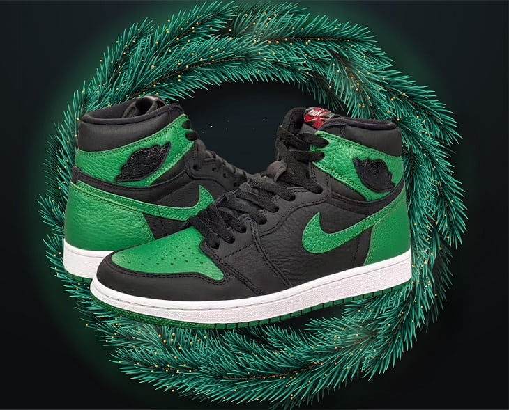 AJ1 Pine Green On Pine Leaves