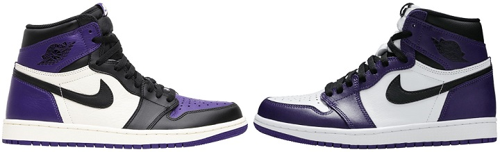 Purple Air Jordan 1 2018 VS 2020