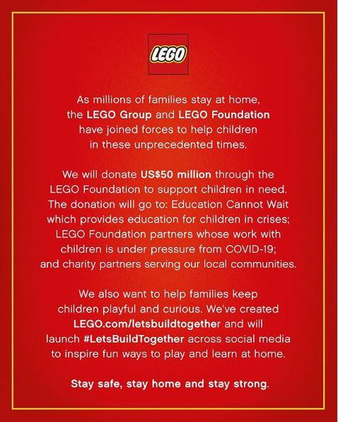 COVID-19 Initiatives sneaker brands coronavirus initiatives - LEGO