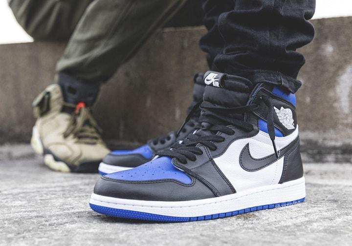 Jordan 1 Royal Blue on feet
