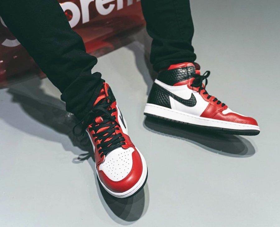 Jordan 1 Snakeskin on feet