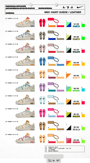 31 to 40 off white dunks