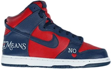 Supreme Dunk High By Any Means Navy Red