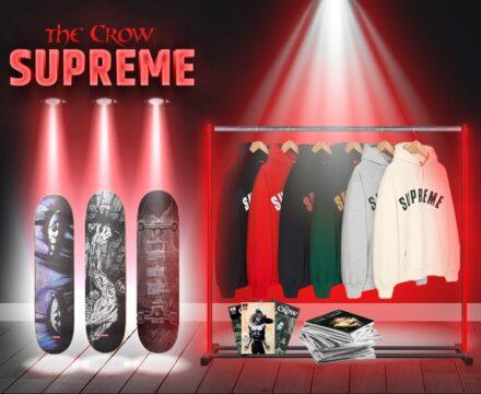 Supreme logo hoodies - crow collab