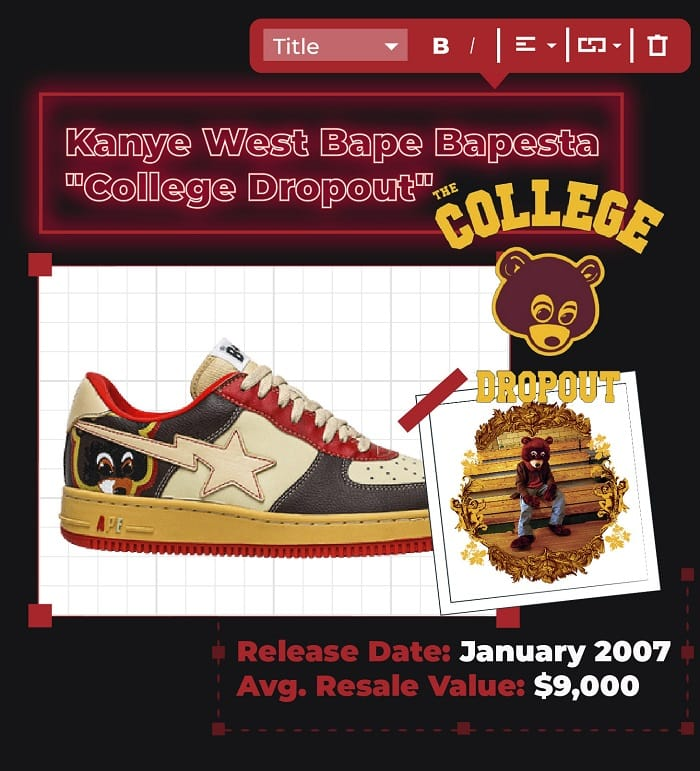 Kanye west Bape Bapesta College Dropout